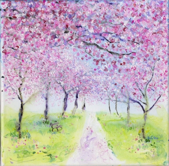 Cherry Blossom Archway, Harrogate in Spring Painting by Anita Bowerman