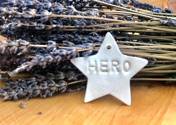 Porcelain Star stamped with 'Hero'
