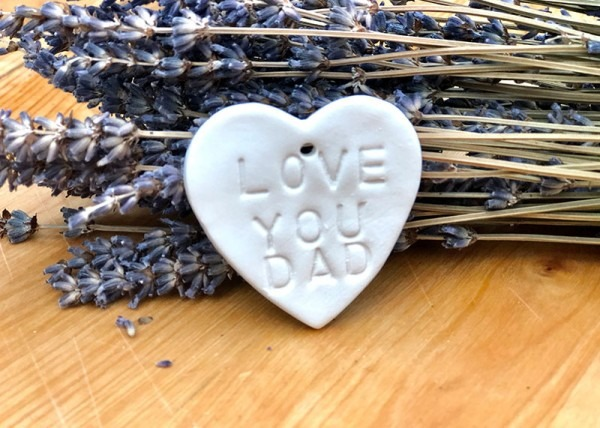 Porcelain Heart stamped with 'LOVE YOU DAD'